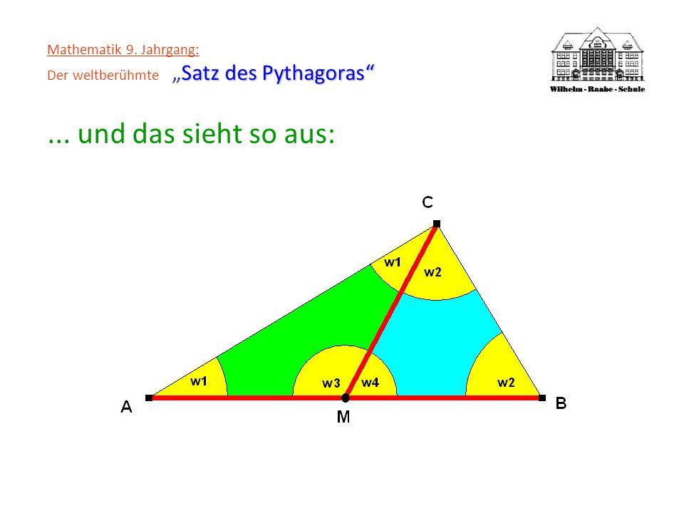 Satz des Pythagoras Mathematik 9. Jahrgang: Der weltberühmteSatz des Pythagoras... und das sieht so aus: