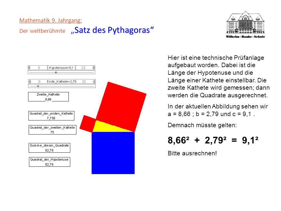 Satz des Pythagoras Mathematik 9.Jahrgang: Der weltberühmteSatz des Pythagoras...