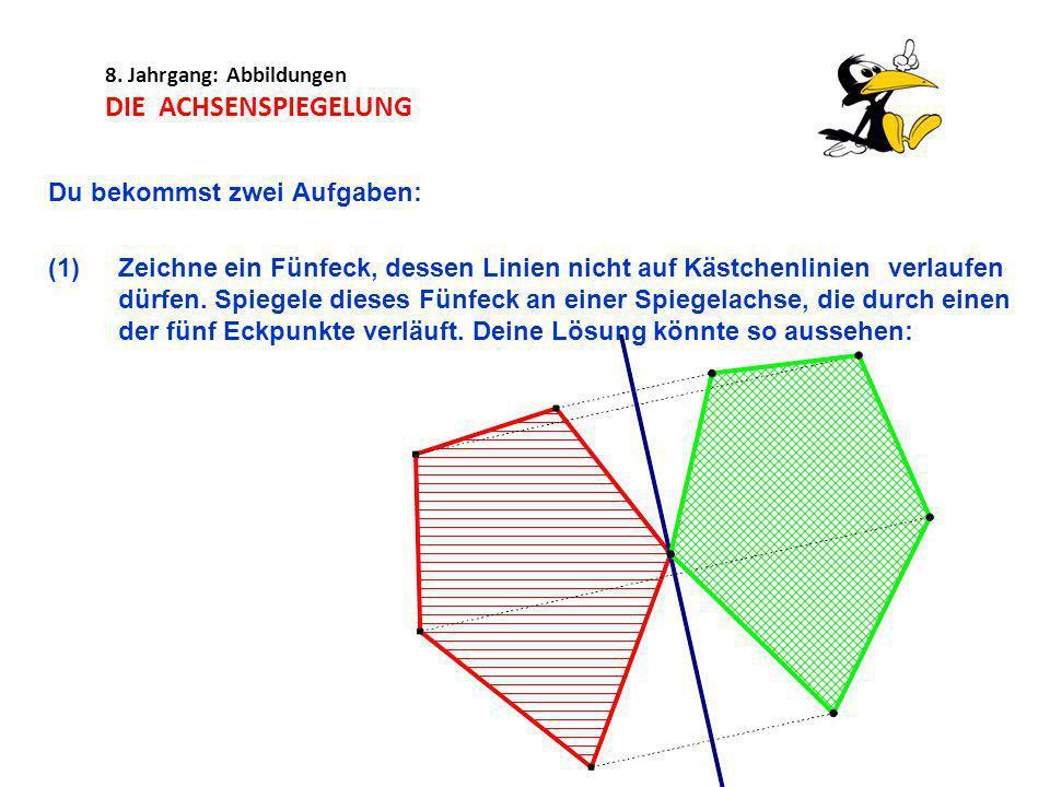 8. Jahrgang: Abbildungen DIE ACHSENSPIEGELUNG Du bekommst zwei Aufgaben: (1)Zeichne ein Fünfeck, dessen Linien nicht auf Kästchenlinien verlaufen dürf