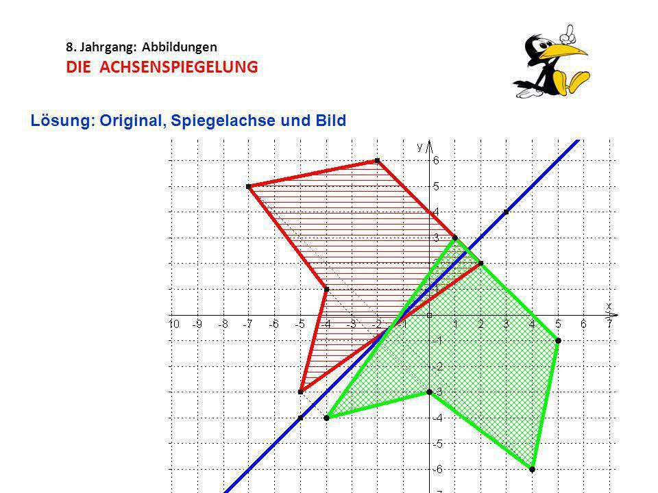 8. Jahrgang: Abbildungen DIE ACHSENSPIEGELUNG Lösung: Original, Spiegelachse und Bild
