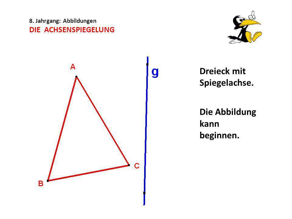 8. Jahrgang: Abbildungen DIE ACHSENSPIEGELUNG Dreieck mit Spiegelachse. Die Abbildung kann beginnen.