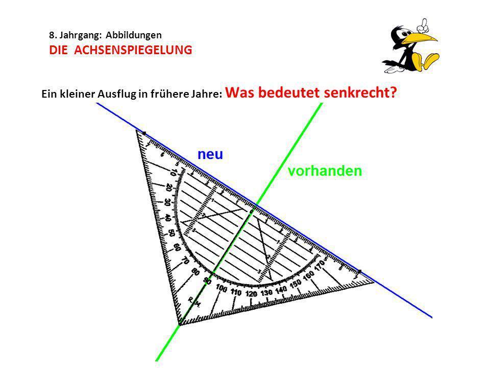 8.Jahrgang: Abbildungen DIE ACHSENSPIEGELUNG Schreibe die Koordinaten der Bildpunkte auf.