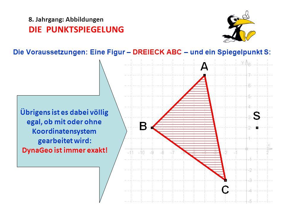 8. Jahrgang: Abbildungen DIE PUNKTSPIEGELUNG Die Voraussetzungen: Eine Figur – DREIECK ABC – und ein Spiegelpunkt S: Übrigens ist es dabei völlig egal