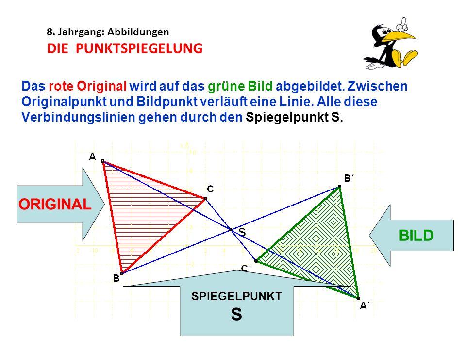 8. Jahrgang: Abbildungen DIE PUNKTSPIEGELUNG Das rote Original wird auf das grüne Bild abgebildet. Zwischen Originalpunkt und Bildpunkt verläuft eine