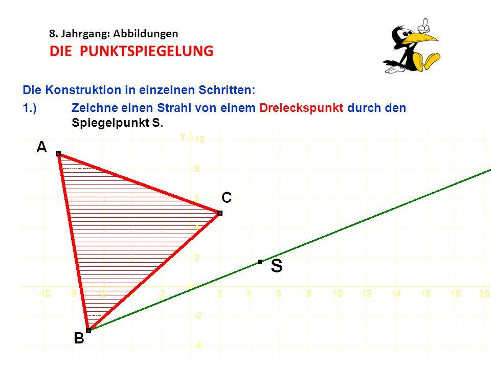 8. Jahrgang: Abbildungen DIE PUNKTSPIEGELUNG Die Konstruktion in einzelnen Schritten: 1.)Zeichne einen Strahl von einem Dreieckspunkt durch den Spiege