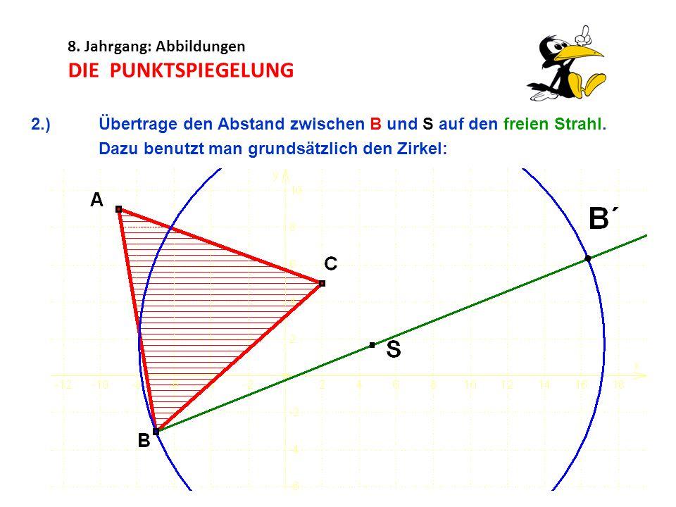 8. Jahrgang: Abbildungen DIE PUNKTSPIEGELUNG 2.) Übertrage den Abstand zwischen B und S auf den freien Strahl. Dazu benutzt man grundsätzlich den Zirk
