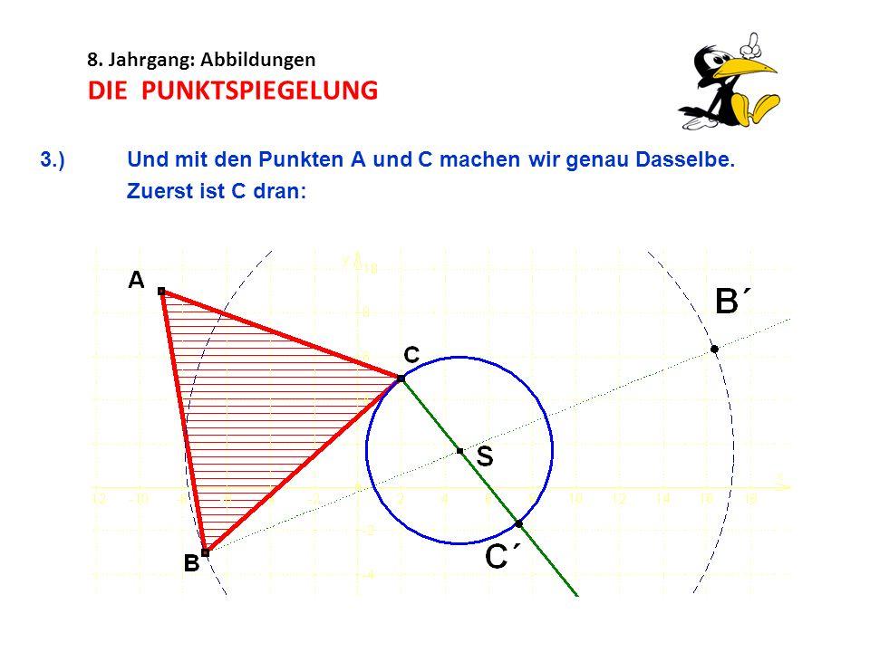 8. Jahrgang: Abbildungen DIE PUNKTSPIEGELUNG 3.)Und mit den Punkten A und C machen wir genau Dasselbe. Zuerst ist C dran:
