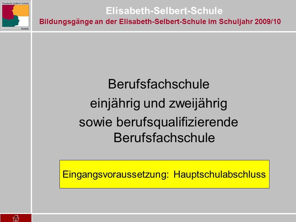 Elisabeth-Selbert-Schule Berufsfachschule einjährig und zweijährig sowie berufsqualifizierende Berufsfachschule Eingangsvoraussetzung: Hauptschulabsch