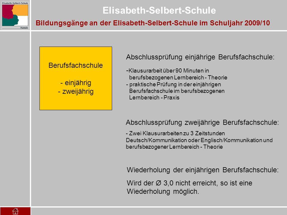 Elisabeth-Selbert-Schule Berufsfachschule - einjährig - zweijährig Abschlussprüfung einjährige Berufsfachschule: - Klausurarbeit über 90 Minuten in be