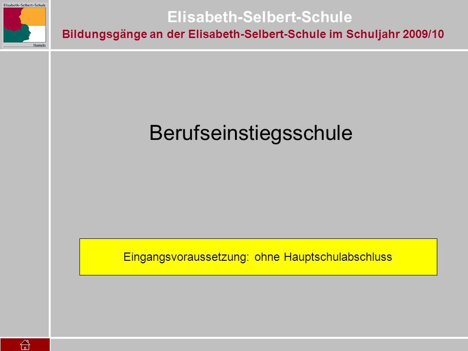 Elisabeth-Selbert-Schule Klasse 12: Deutsch (4 Std.) Englisch (4 Std.) Mathematik(4 Std.) Politik(2 Std.) Religion(1 Std.) Sport (1 Std.) Naturw.(2 Std.) Berufliche Fächer (12 Std.) Gesundheit und Pflege Betriebs- und Volkswirtschaft Informationsverarbeitung Klasse 11: Deutsch (2 Std.) Englisch (2 Std.) Mathematik(2 Std.) Politik(1 Std.) Religion(0,5 Std.) Sport (0,5 Std.) Berufliche Fächer (4 Std.) Gesundheit und Pflege + 960 Stunden Betriebspraktikum Die Unterrichtsfächer Bildungsgänge an der Elisabeth-Selbert-Schule im Schuljahr 2009/10