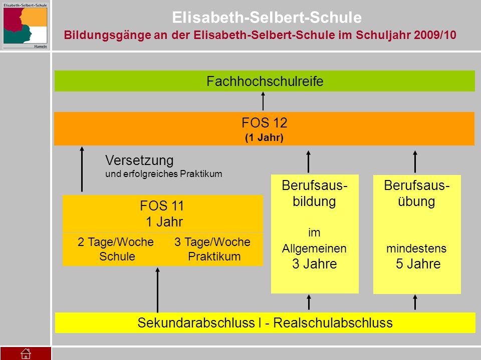 Elisabeth-Selbert-Schule Sekundarabschluss I - Realschulabschluss Berufsaus- bildung im Allgemeinen 3 Jahre FOS 12 (1 Jahr) Berufsaus- übung mindesten