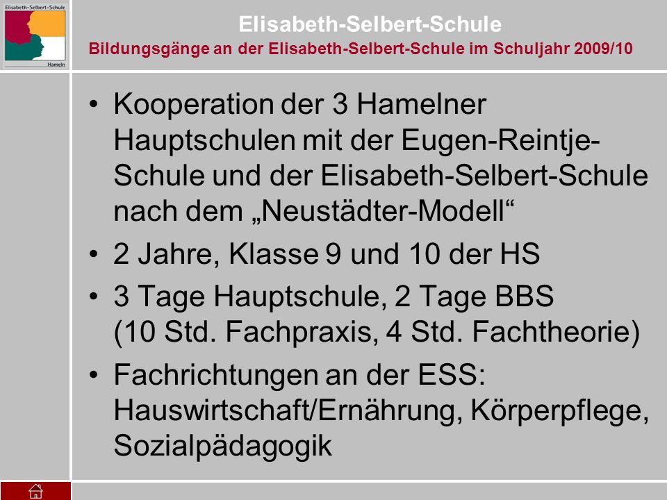 Elisabeth-Selbert-Schule Kooperation der 3 Hamelner Hauptschulen mit der Eugen-Reintje- Schule und der Elisabeth-Selbert-Schule nach dem Neustädter-Mo