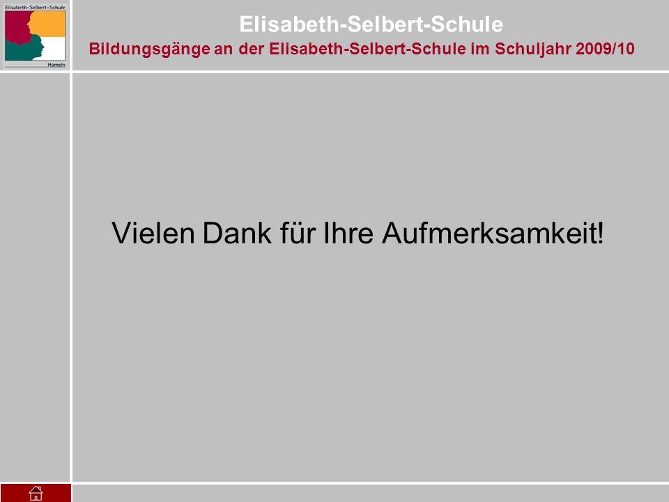 Elisabeth-Selbert-Schule Vielen Dank für Ihre Aufmerksamkeit! Bildungsgänge an der Elisabeth-Selbert-Schule im Schuljahr 2009/10