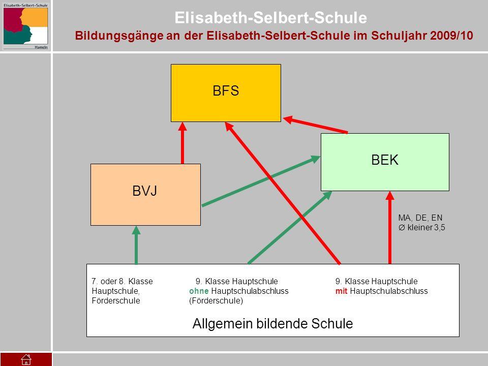 Elisabeth-Selbert-Schule Bildungsgänge an der Elisabeth-Selbert-Schule im Schuljahr 2009/10 7. oder 8. Klasse 9. Klasse Hauptschule 9. Klasse Hauptsch