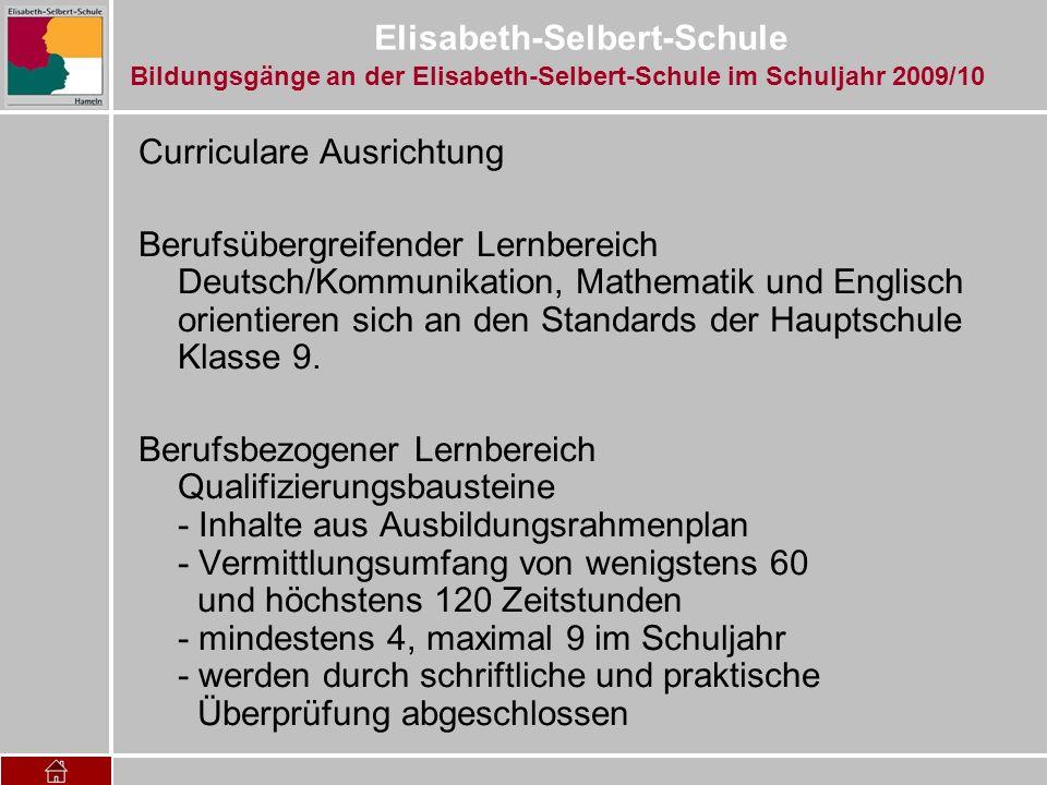 Elisabeth-Selbert-Schule Curriculare Ausrichtung Berufsübergreifender Lernbereich Deutsch/Kommunikation, Mathematik und Englisch orientieren sich an d