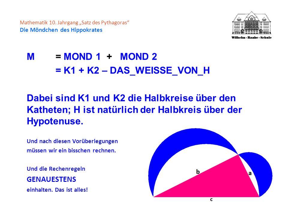 Mathematik 10. Jahrgang Satz des Pythagoras Die Möndchen des Hippokrates M= MOND 1 + MOND 2 = K1 + K2 – DAS_WEISSE_VON_H Dabei sind K1 und K2 die Halb