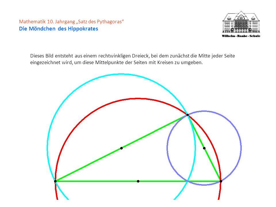 Mathematik 10. Jahrgang Satz des Pythagoras Die Möndchen des Hippokrates Dieses Bild entsteht aus einem rechtwinkligen Dreieck, bei dem zunächst die M