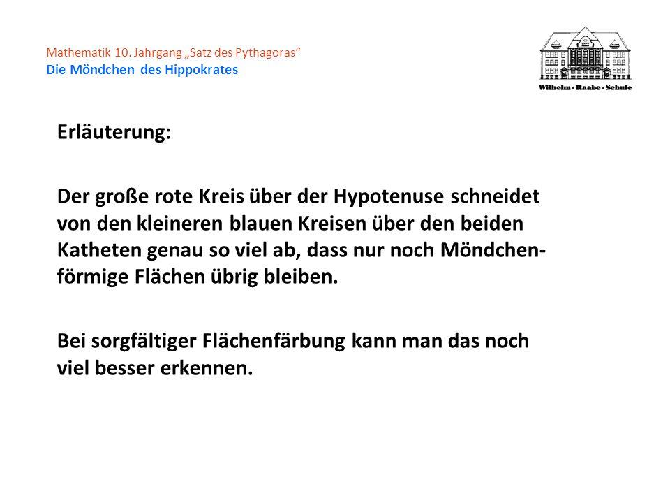 Mathematik 10. Jahrgang Satz des Pythagoras Die Möndchen des Hippokrates Erläuterung: Der große rote Kreis über der Hypotenuse schneidet von den klein