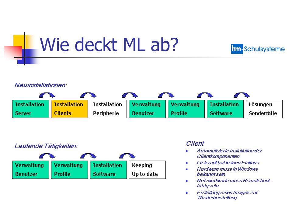 Wie deckt ML ab? Installation Server Installation Clients Installation Peripherie Verwaltung Benutzer Verwaltung Profile Installation Software Lösunge