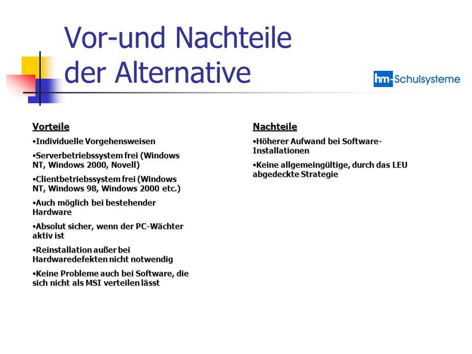 Vor-und Nachteile der Alternative Vorteile Individuelle VorgehensweisenIndividuelle Vorgehensweisen Serverbetriebssystem frei (Windows NT, Windows 200