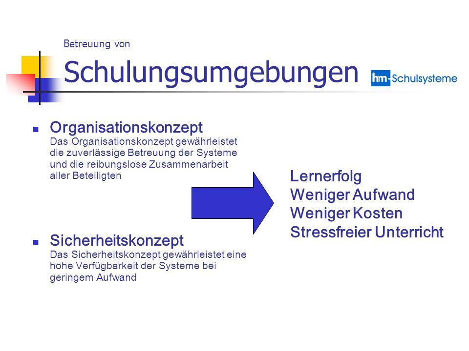 Betreuung von Schulungsumgebungen Organisationskonzept Das Organisationskonzept gewährleistet die zuverlässige Betreuung der Systeme und die reibungsl