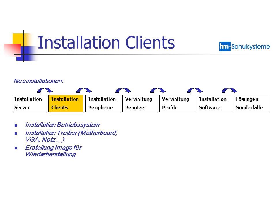 Installation Peripherie Installation Server Installation Clients Installation Peripherie Verwaltung Benutzer Verwaltung Profile Installation Software Lösungen Sonderfälle Neuinstallationen: Installation Drucker Installation Scanner Installation Beamer