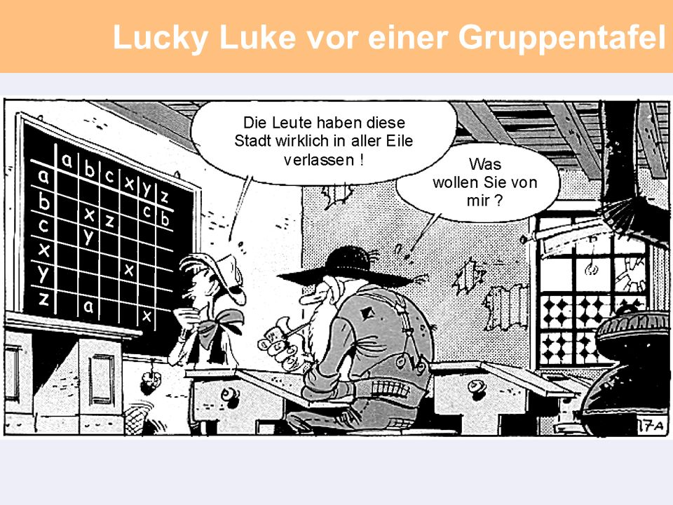 Lucky Luke vor einer Gruppentafel