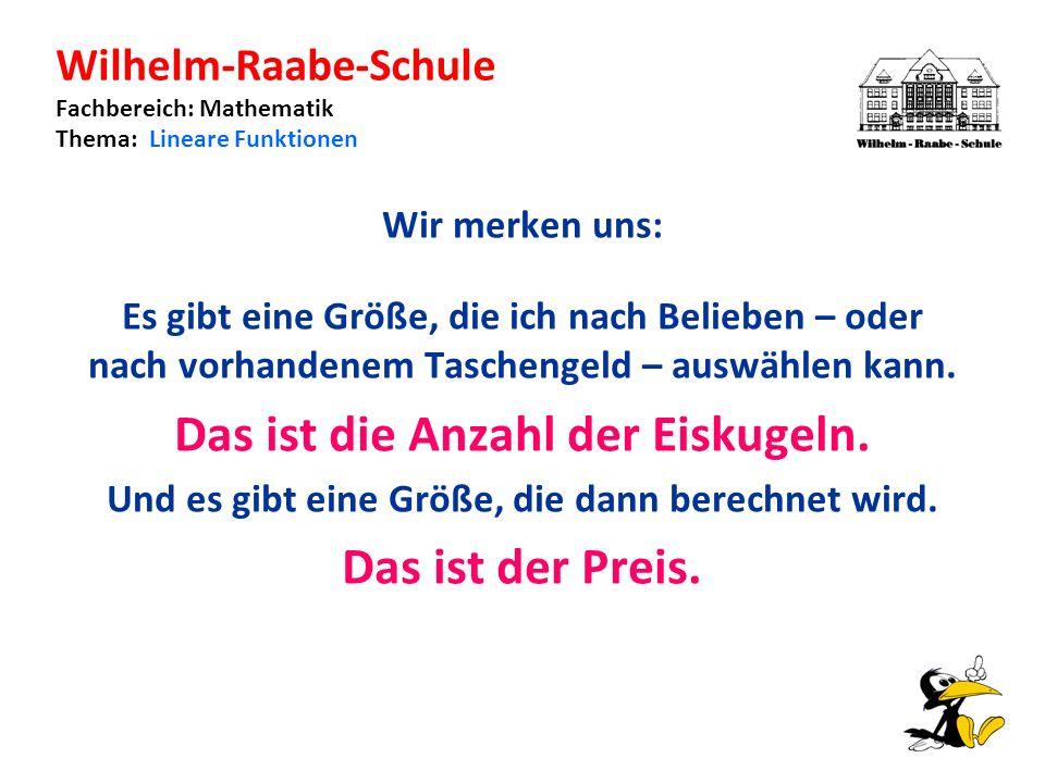 Wilhelm-Raabe-Schule Fachbereich: Mathematik Thema: Lineare Funktionen Wir merken uns: Es gibt eine Größe, die ich nach Belieben – oder nach vorhandenem Taschengeld – auswählen kann.