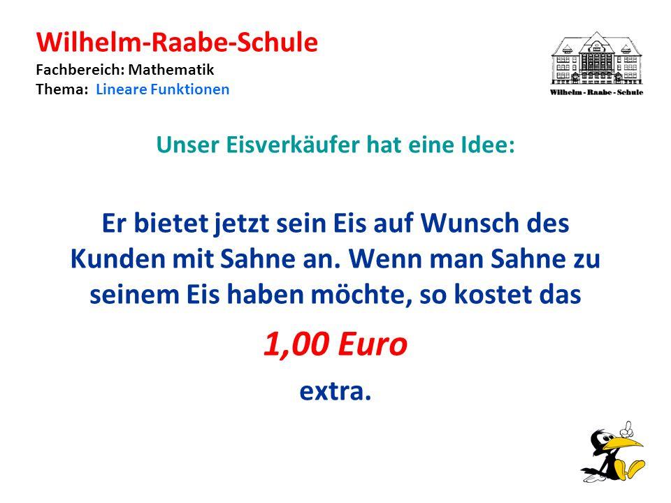 Wilhelm-Raabe-Schule Fachbereich: Mathematik Thema: Lineare Funktionen Unser Eisverkäufer hat eine Idee: Er bietet jetzt sein Eis auf Wunsch des Kunden mit Sahne an.