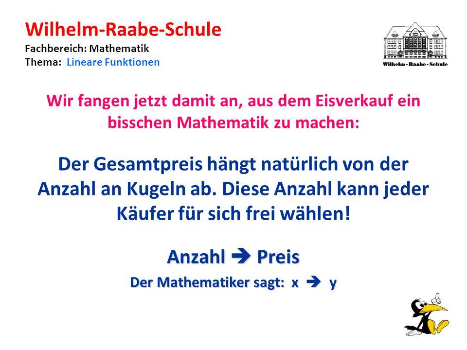 Wilhelm-Raabe-Schule Fachbereich: Mathematik Thema: Lineare Funktionen Wir fangen jetzt damit an, aus dem Eisverkauf ein bisschen Mathematik zu machen: Der Gesamtpreis hängt natürlich von der Anzahl an Kugeln ab.
