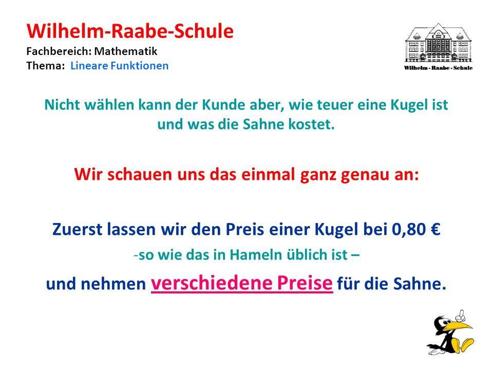 Wilhelm-Raabe-Schule Fachbereich: Mathematik Thema: Lineare Funktionen Nicht wählen kann der Kunde aber, wie teuer eine Kugel ist und was die Sahne kostet.