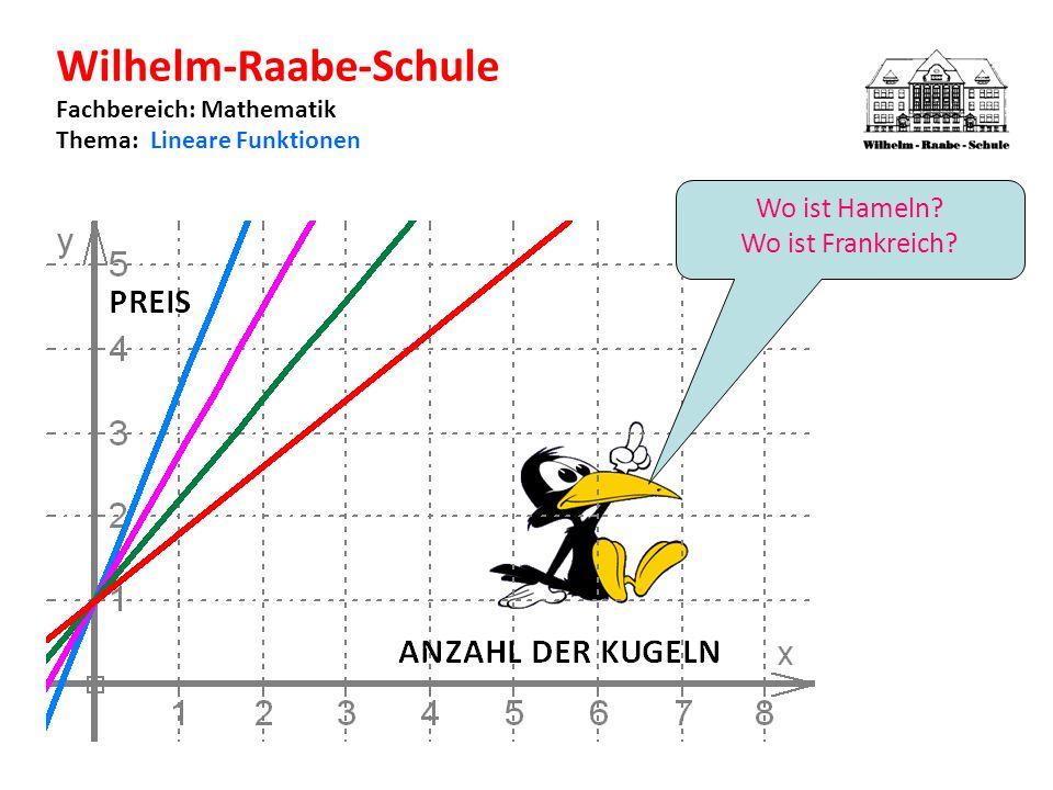 Wilhelm-Raabe-Schule Fachbereich: Mathematik Thema: Lineare Funktionen Wo ist Hameln.