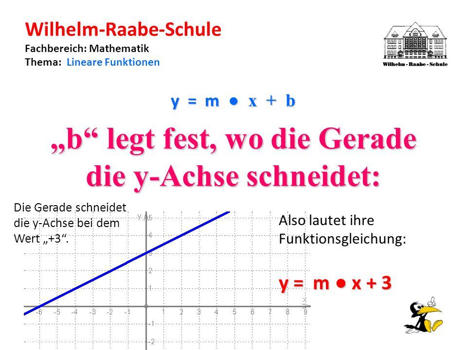 Wilhelm-Raabe-Schule Fachbereich: Mathematik Thema: Lineare Funktionen y = m x + b b legt fest, wo die Gerade die y-Achse schneidet: Die Gerade schneidet die y-Achse bei dem Wert +3.