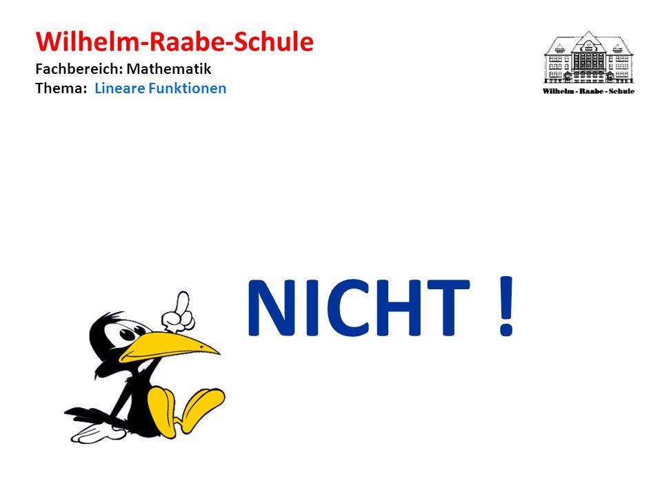 Wilhelm-Raabe-Schule Fachbereich: Mathematik Thema: Lineare Funktionen NICHT !