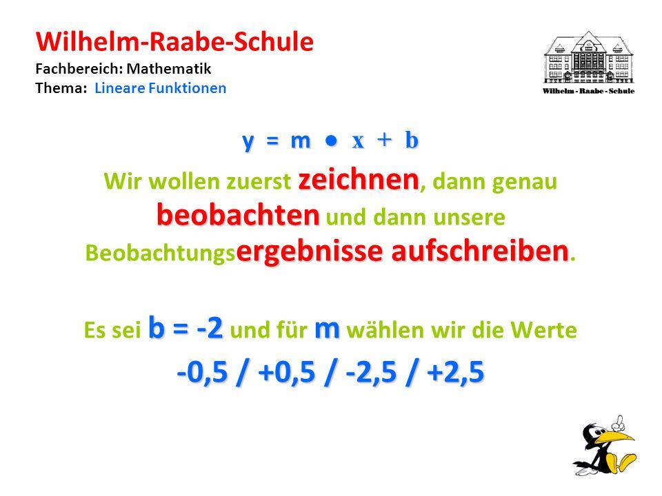 Wilhelm-Raabe-Schule Fachbereich: Mathematik Thema: Lineare Funktionen y = m x + b zeichnen beobachten ergebnisse aufschreiben Wir wollen zuerst zeichnen, dann genau beobachten und dann unsere Beobachtungs ergebnisse aufschreiben.