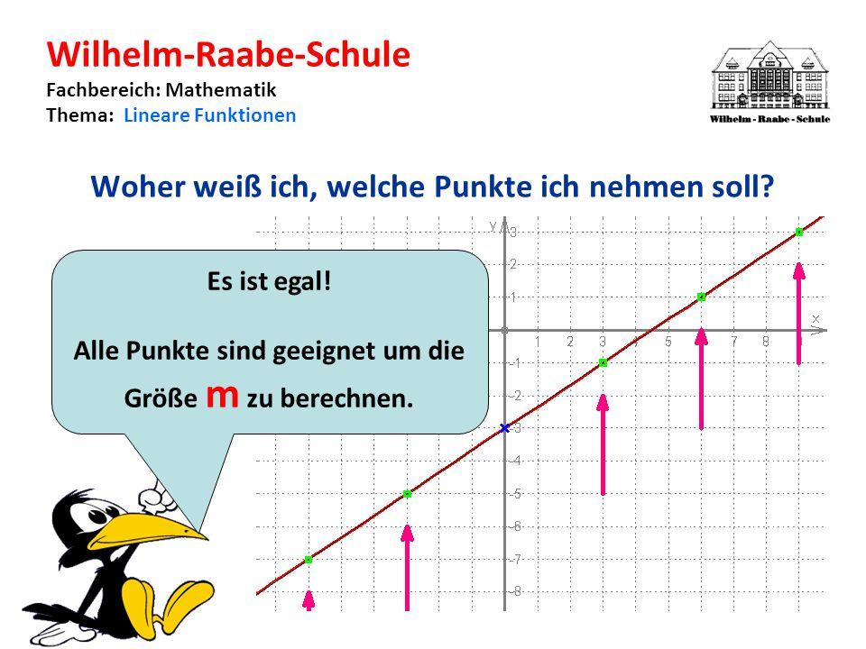 Wilhelm-Raabe-Schule Fachbereich: Mathematik Thema: Lineare Funktionen Woher weiß ich, welche Punkte ich nehmen soll.