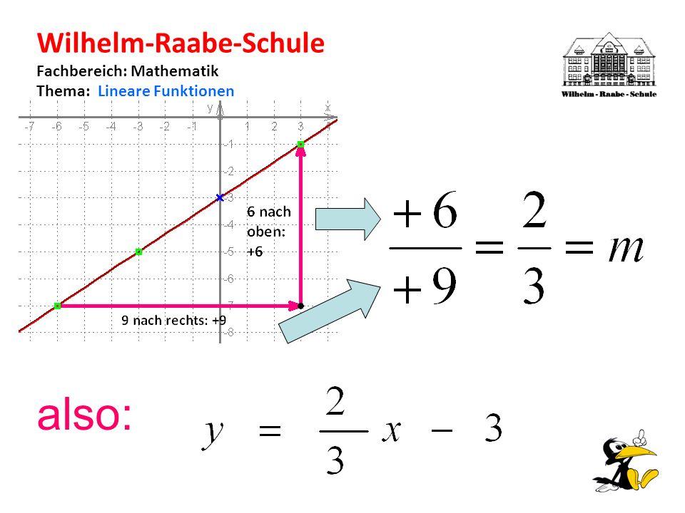 Wilhelm-Raabe-Schule Fachbereich: Mathematik Thema: Lineare Funktionen also: