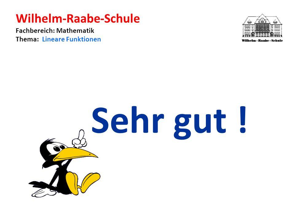 Wilhelm-Raabe-Schule Fachbereich: Mathematik Thema: Lineare Funktionen Sehr gut !