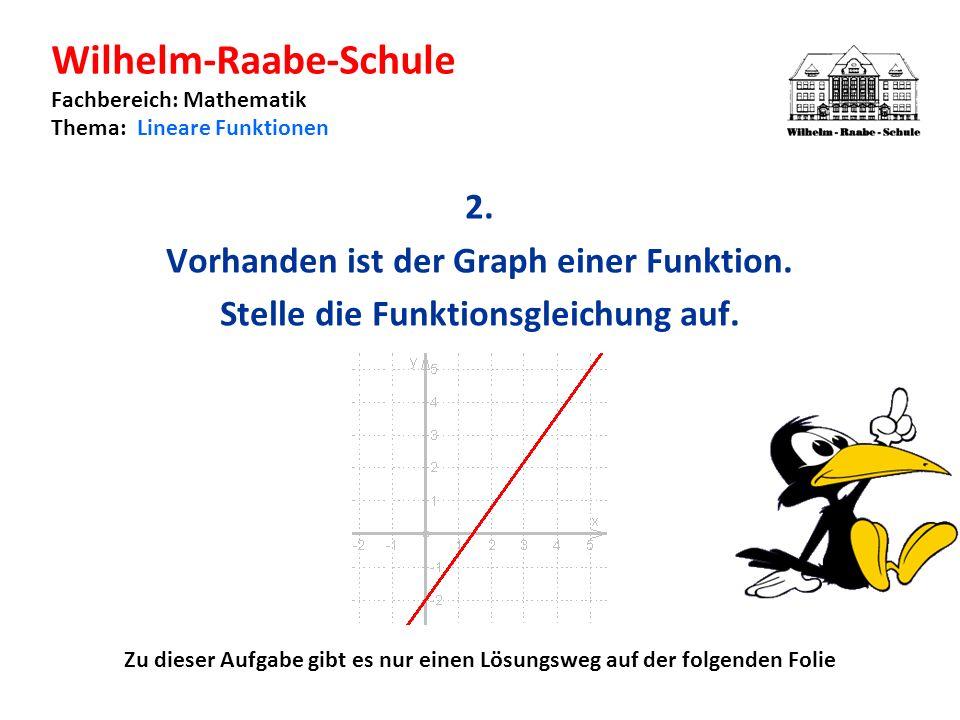 Wilhelm-Raabe-Schule Fachbereich: Mathematik Thema: Lineare Funktionen 2.