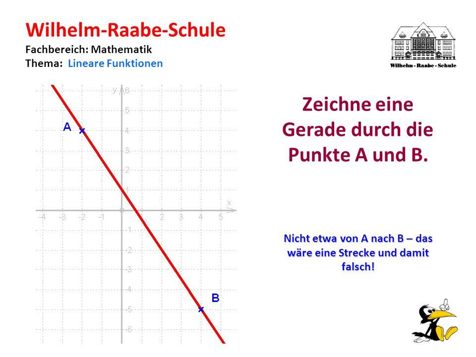 Wilhelm-Raabe-Schule Fachbereich: Mathematik Thema: Lineare Funktionen Zeichne eine Gerade durch die Punkte A und B.