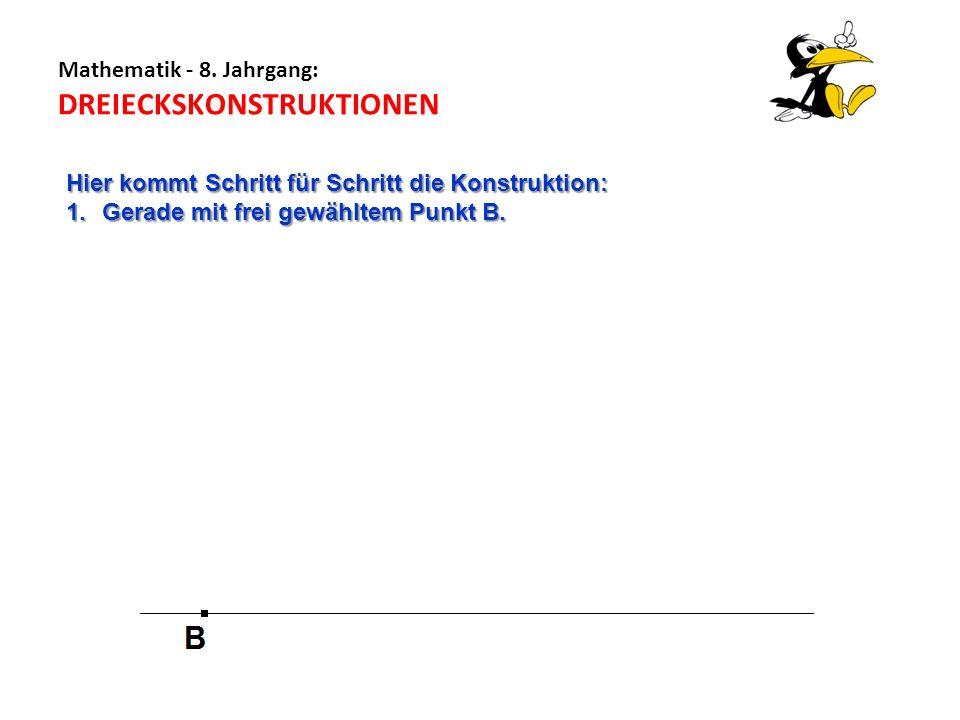Mathematik - 8. Jahrgang: DREIECKSKONSTRUKTIONEN Hier kommt Schritt für Schritt die Konstruktion: 1.Gerade mit frei gewähltem Punkt B.