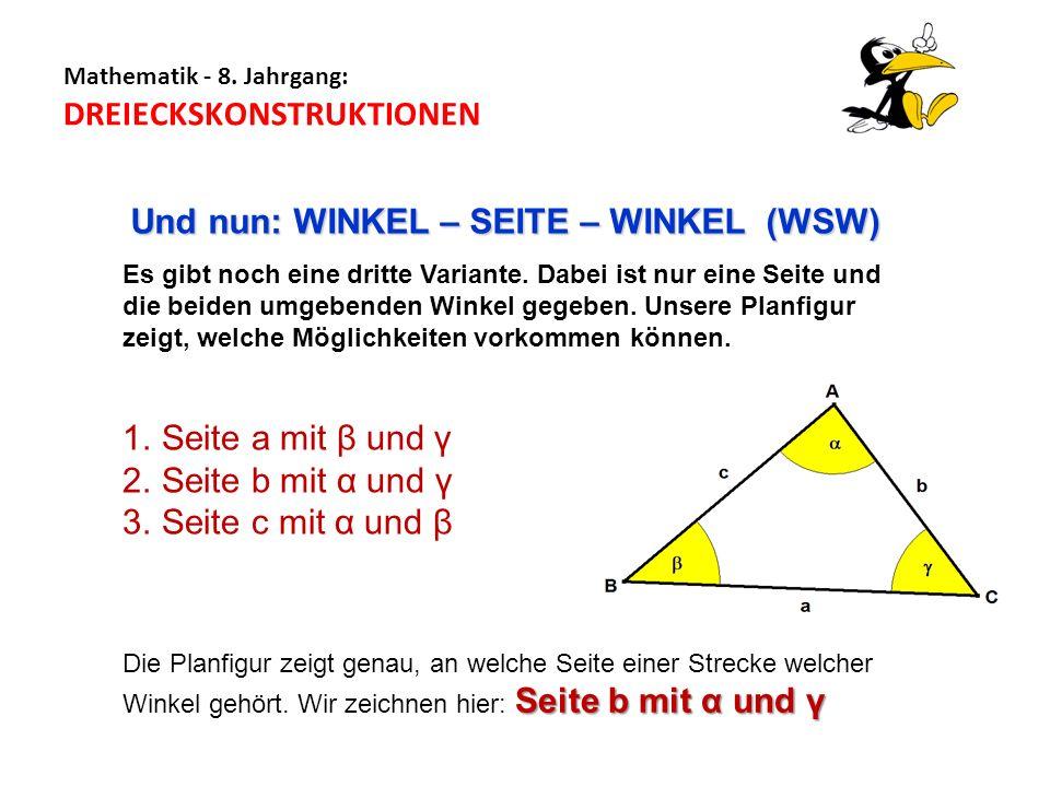 Mathematik - 8. Jahrgang: DREIECKSKONSTRUKTIONEN Es gibt noch eine dritte Variante. Dabei ist nur eine Seite und die beiden umgebenden Winkel gegeben.
