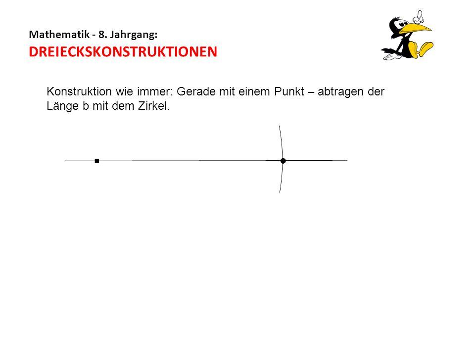 Mathematik - 8. Jahrgang: DREIECKSKONSTRUKTIONEN Konstruktion wie immer: Gerade mit einem Punkt – abtragen der Länge b mit dem Zirkel.