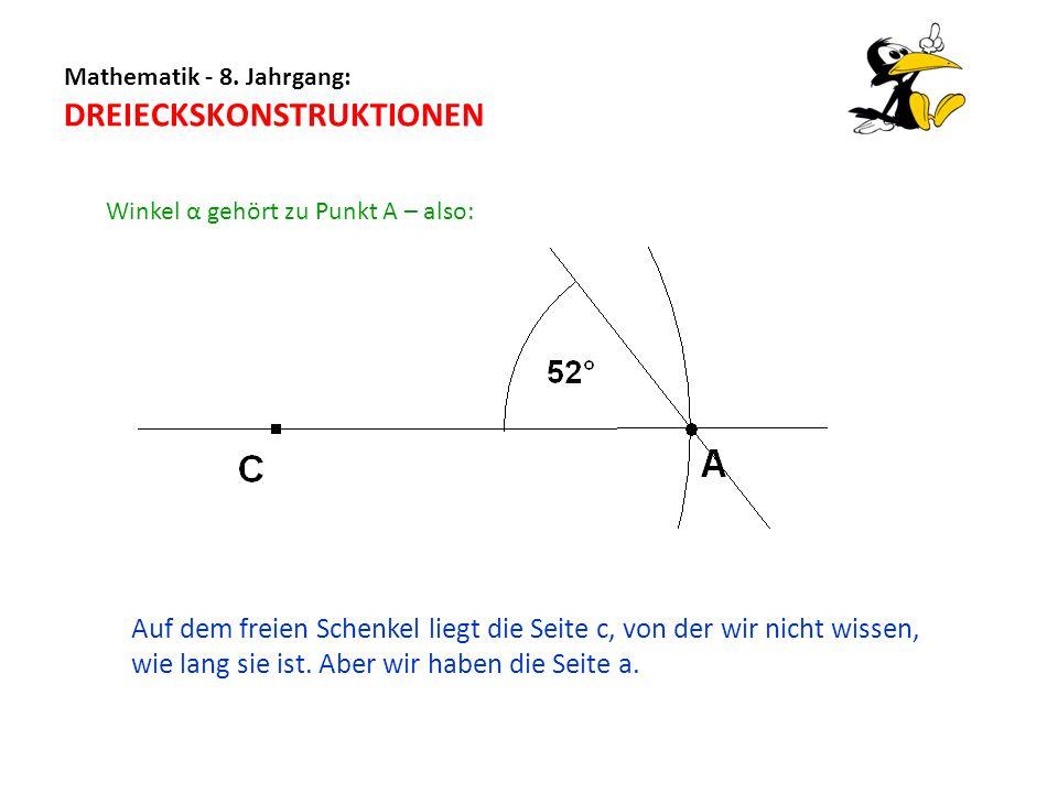 Mathematik - 8. Jahrgang: DREIECKSKONSTRUKTIONEN Winkel α gehört zu Punkt A – also: Auf dem freien Schenkel liegt die Seite c, von der wir nicht wisse