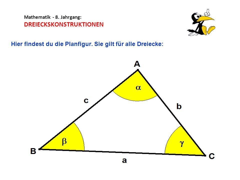 Mathematik - 8. Jahrgang: DREIECKSKONSTRUKTIONEN Hier findest du die Planfigur. Sie gilt für alle Dreiecke: