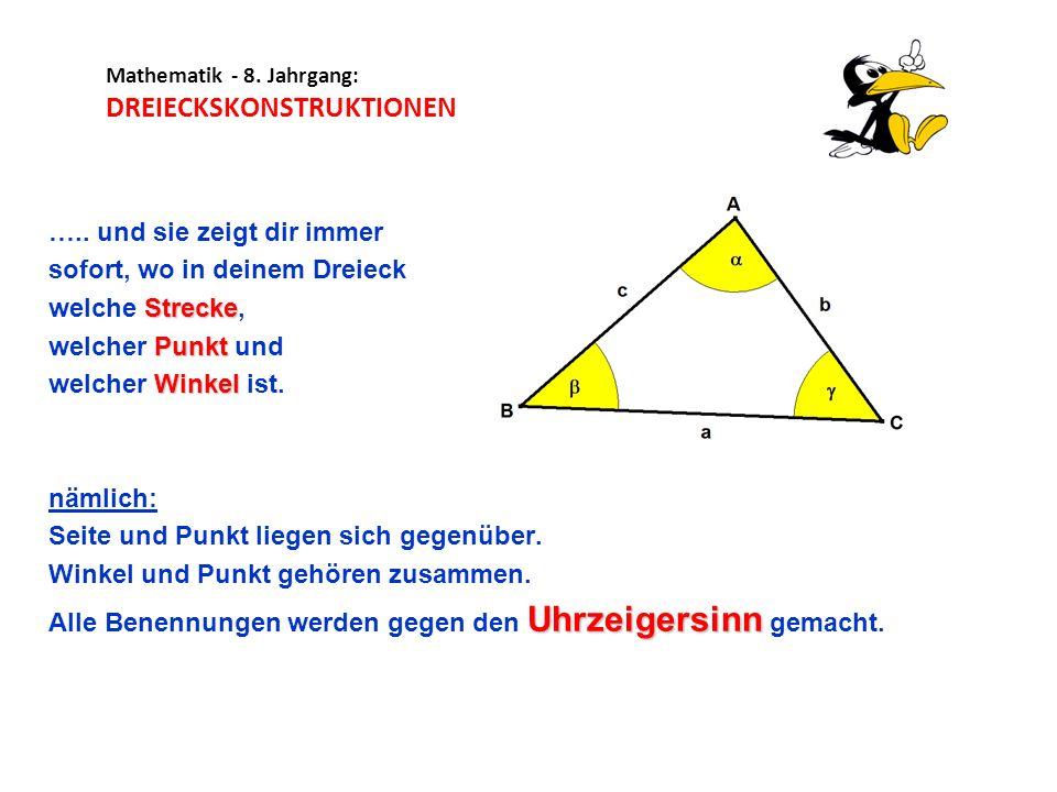 Mathematik - 8. Jahrgang: DREIECKSKONSTRUKTIONEN ….. und sie zeigt dir immer sofort, wo in deinem Dreieck Strecke welche Strecke, Punkt welcher Punkt
