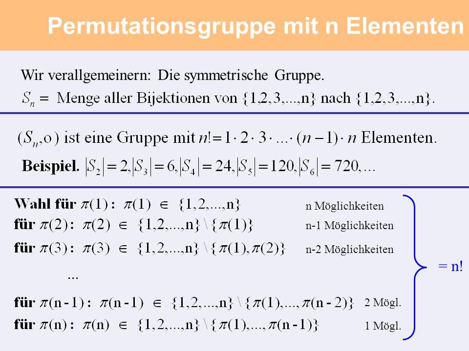 Permutationsgruppe mit n Elementen Wir verallgemeinern: Die symmetrische Gruppe....