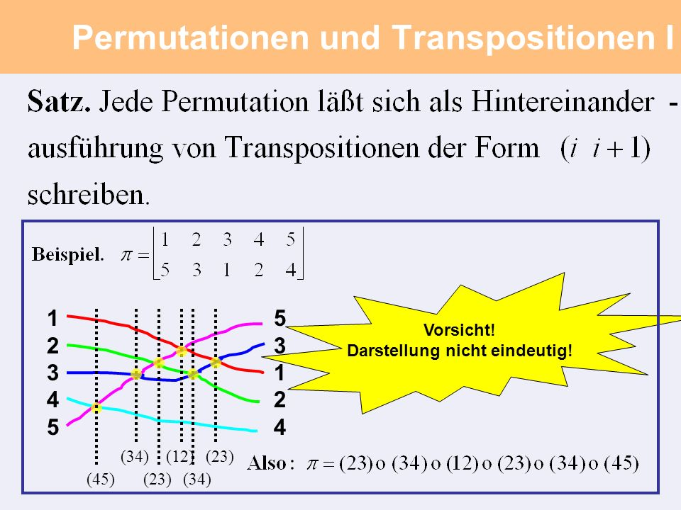 Permutationen und Transpositionen II Beweis des Satzes.