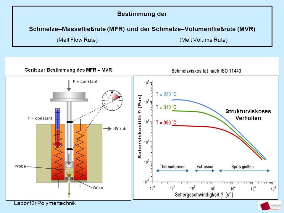 Labor für Polymertechnik Bestimmung der Schmelze–Massefließrate (MFR) und der Schmelze–Volumenfließrate (MVR) (Melt Flow Rate) (Melt Volume Rate) Gerä