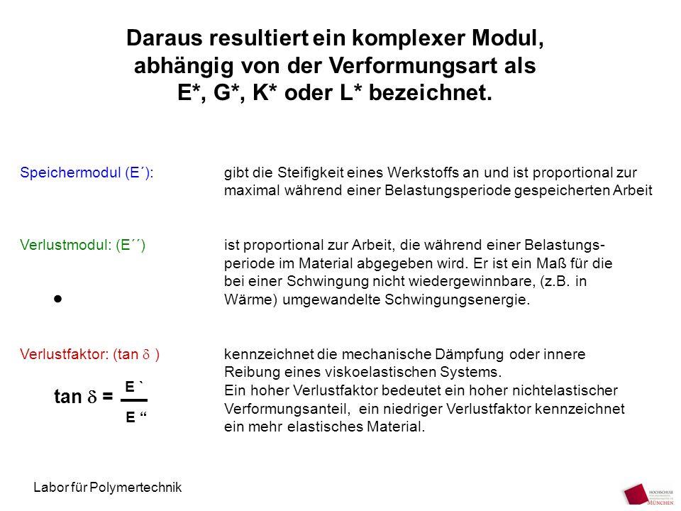 Labor für Polymertechnik Daraus resultiert ein komplexer Modul, abhängig von der Verformungsart als E*, G*, K* oder L* bezeichnet. Speichermodul (E´):